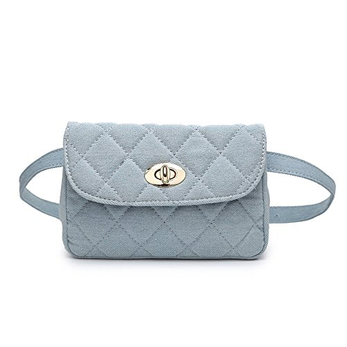 JUMENG Fashion Denim Quilted Shoulder Bag for Women Waist Pack Chain Crossbody (Light cowboy blue)