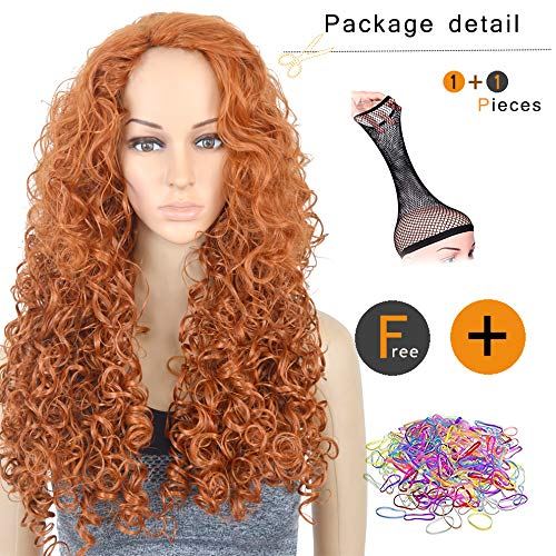 SiYi Halloween Wigs Disguise Merida Cosplay Wig 26'' Long Curly Orange Hairstyle for Gril -