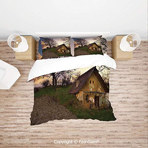 FashSam Duvet Cover 4 Pcs Comforter Cover Set Battered Stone House in Field Messy Shed Building Provincial Pastoral Concept for Boys Grils Kids(Queen)