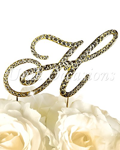Victorian Collection Monogram Rhinestone Cake Topper - Large - Gold (4.75