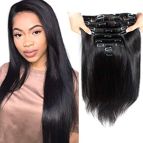 Brazilian Virgin Human Hair Grade 8A Straight Clip In Hair Extensions for Black Women 120g 10Pcs/set for Full Head Thick Double Weft 1B Natural Black Alina Hair
