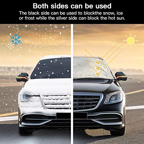 YANX Car Sunshade Windshield Cover Snow Cover Frost Windshield Cover with Magnetic Edges Defense Sunshine Ice and Frost Snow