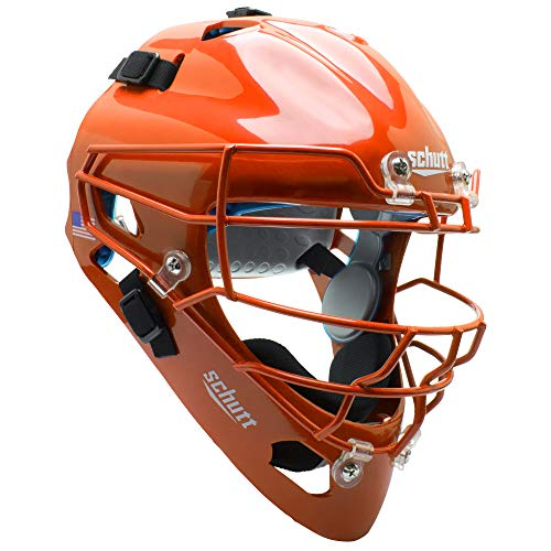 Schutt AiR MAXX Hockey-Style Catcher's Helmet with Facemask, Burnt Orange, Ultra Lightweight Titanium Face Mask