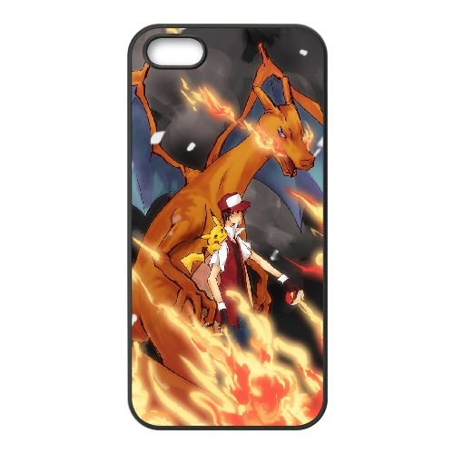 Ash Charizard And Pikachu coque iPhone 5 5S Housse téléphone Noir de couverture de cas coque EBDOBCKCO17469