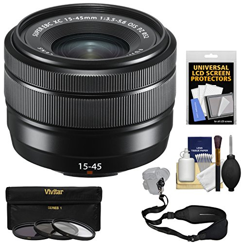 Fujifilm 15-45mm f/3.5-5.6 XC OIS Power Zoom Lens (Black) with 3 UV/CPL/ND8 Filters + Strap + Kit
