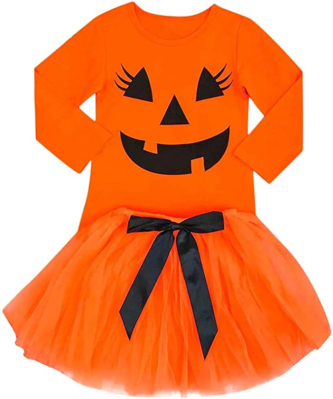 Tutu Skirt Outfit US 2Pcs Kid Baby Girl Halloween Pumpkin Clothes Tops T-shirt