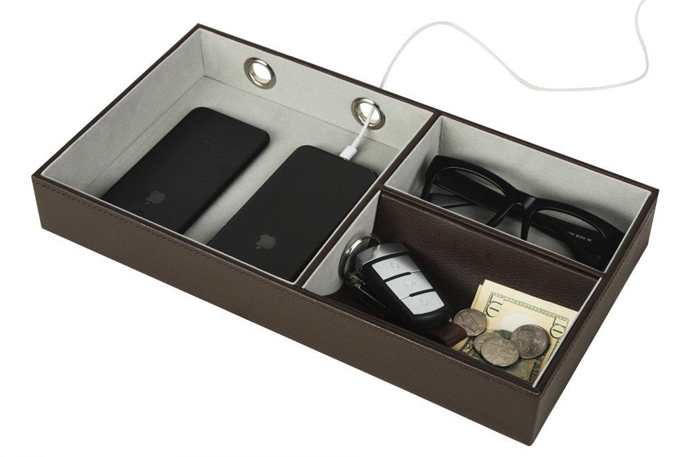 JackCubeDesign Multi Valet Tray Leather, Desk or Dresser Organizer, Catch-all for Keys, Phone, Wallet, Coin, Jewelry and More with 3 Compartments (Dark Brown, 14.2 x 7.7 x 2 inches)-MK234A