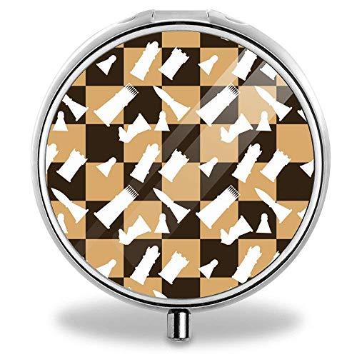 Custom Round Pill Box Case Useful Stainless Steel Medicine Tablet Holder Organizer Case(Wooden Chess Board) ()