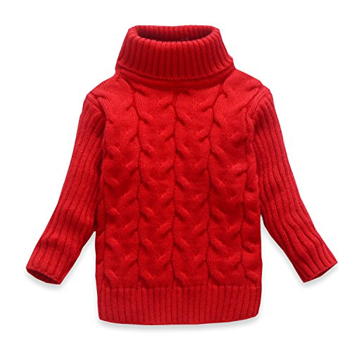 VIFUUR Kids Soild Turtleneck Sweater Boys Girls Knit Sweater for Christmas Red US 3T ()