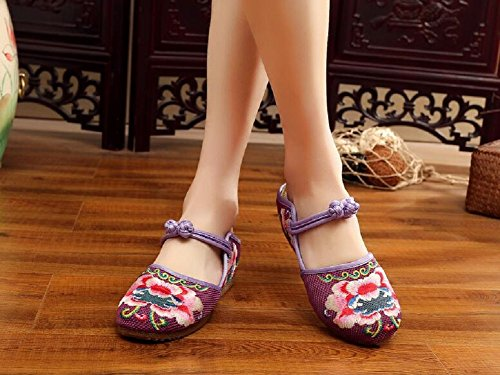 Lazutom Comfortable Womens Spring Summer Embroidery Casual Flats Loafer Shoes Walking Shoes Purple QyffsYt9