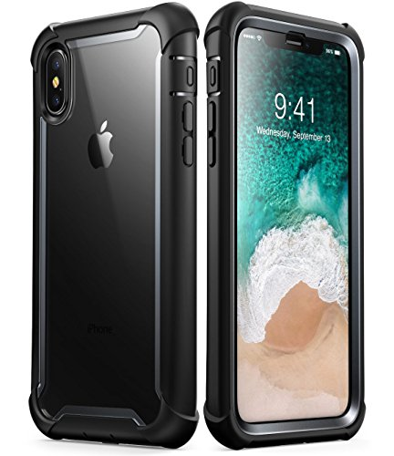 iPhone X Case,iPhone Xs Case, i-Blason [Ares] Full-Body Rugged Clear Bumper Case with Built-in Screen Protector for Apple iPhone X 2017/ iPhone Xs 2018 (Black)