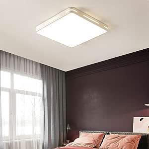 Modern Ultrathin White LED Ceiling Light Lamp 3 Color Temperatures in One (3000k / 4000k / 6500k) LED Flush Mount Ceiling Light – 36W 350W Equivalent Square LED Ceiling Lamp 5x40x40cm