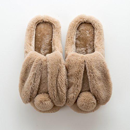 Laxba Women Men Intérieur Anti-dérapant Chaussures Pantoufles Brun Adultes39 / 40