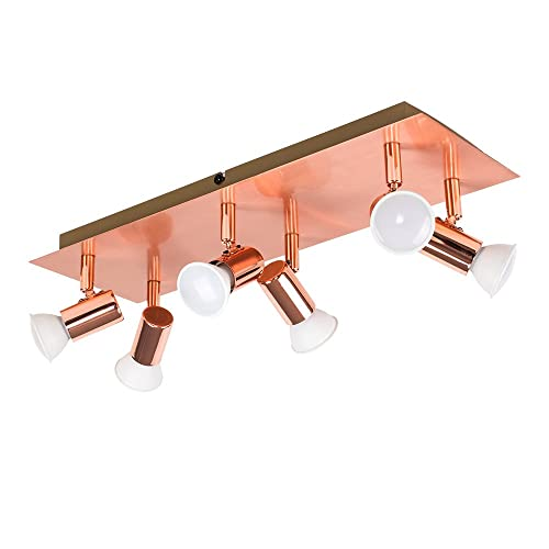Merveilleux MiniSun   Modern Rectangular Copper Effect Plate 6 Way Adjustable Ceiling  Spotlight