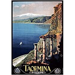 TRAVEL TAORMINA SICILY ETNA GREEK THEATRE ITALY ART FRAME PRINT PICTURE F12X1331