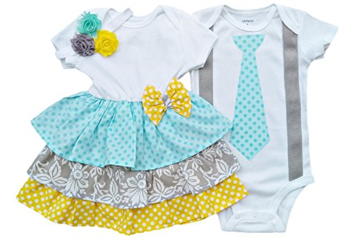 Made Outfit (Boy Girl Twin Outfits Grace and Grayson by Perfect Pairz USA Made Outfit)