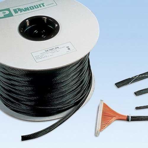 Panduit SE125P-TR0 Braided Expandable Sleeving, 1.25-Inch Diameter, Polyethylene Terephthalate, Black (200-Foot)