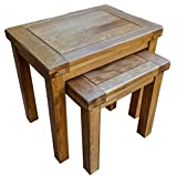 Yabbyou Solid Oak Large Rustic Nest of 2 Tables