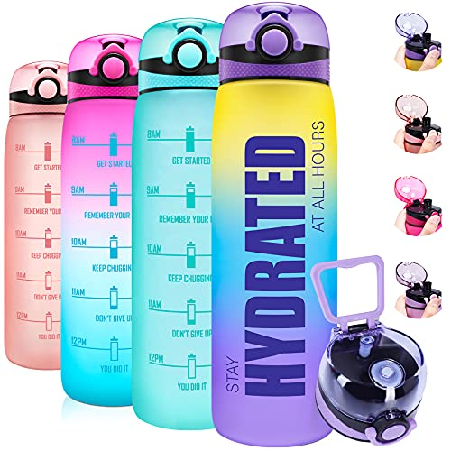 Elvira 32oz Motivational Water Bottle with Removable Fruit Infuser & Time Marker, Leakproof BPA Free Wide Mouth - Ombre Yellow Purple