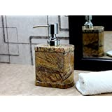 KLEO Soap/Lotion Dispenser - Made of Genuine Natural Multicolor Stone in Brown/Sand Color - Luxury Bathroom Accessories Bath Set