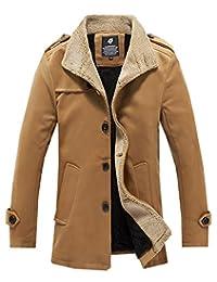 LifeHe 2017 Men's Winter Stand Collar Wool Blend Outerwear Peacoat