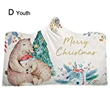 Bulary Christmas Hooded Blanket Adult/Children's Home Blanket Thickened Blanket, 4 Types