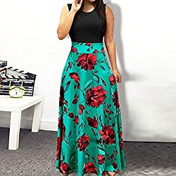 Foruu Womens Dresses Summer Sleeveless Floral Printed Sun Casual Swing Maxi Summer Pomisi Backless Beach Party Summer Holiday Girlfriend Lover Wife Party Beach Prom Cocktail Evening Club