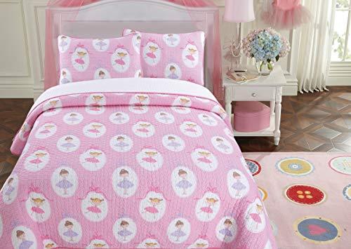 Cozy Line Home Fashions Ballerina Dance Princess Bedding Quilt Set, Pink Orchid Light Purple 100% Cotton Bedspread Coverlet Set (Pink Print, Queen - 3 Piece) ()