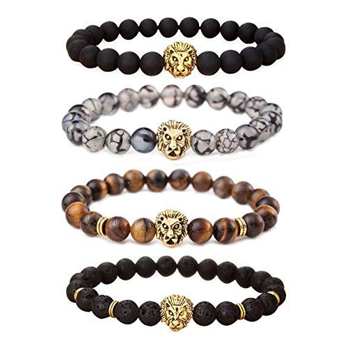 (MIKINI Unisex Mens Bracelets Set - Lava Rock Black Matte Agate Dragon Vein Agate Tiger Eye's Stone Beads Bracelet, Gold & Silver Plated Lion Head (Gold)