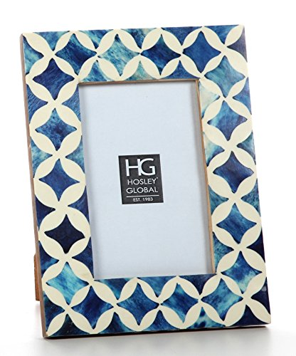 Hosley Azure Blue Tones Nautical, Resin Picture Frame, 4x6. Ideal Gift for Home, Wedding, Party. Home Office, Spa P2