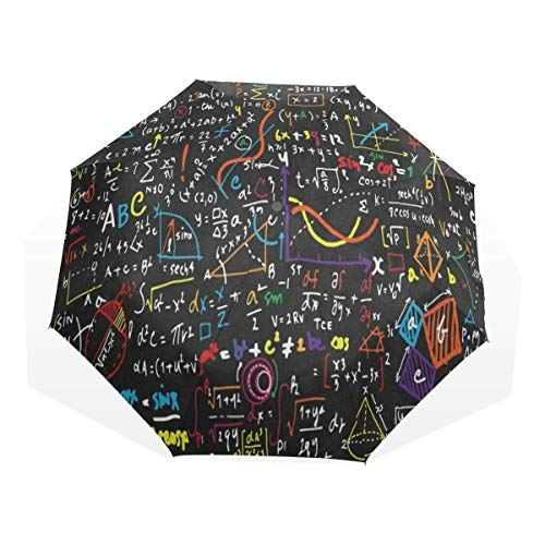 HangWang Umbrella Mathematical Formula Travel Golf Sun Rain Windproof Umbrellas with UV Protection for Womens Mens Kids Girls Boys