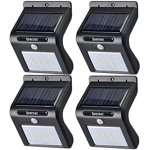 Solar Lights, 16 LED Outdoor Solar Powerd, Wireless Waterproof Security Motion Sensor Light for Porch, Patio, Deck, Yard, Garden, Driveway, Outside Wall (Black, 4 PACK)