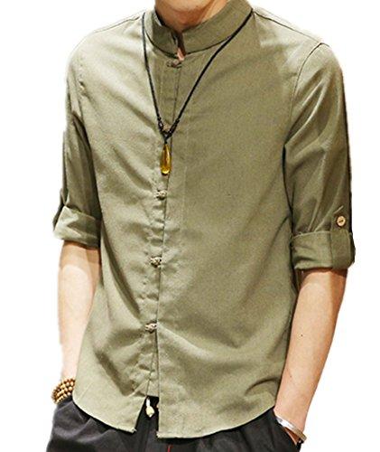 脆いコントラスト囲むSKWELL メンズシャツ カーディガン 無地 ワイシャツ クールビズyシャツ 綿麻 5分袖/中袖 トレンド さわやか メンズファッション 春夏秋 おしゃれ ゆったり上着 レジャー スリムフィット トップスカジュアル大きいサイズ M-5XL