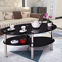 Tempered Glass Oval Side Coffee Table Shelf Chrome Base Living Room Black New