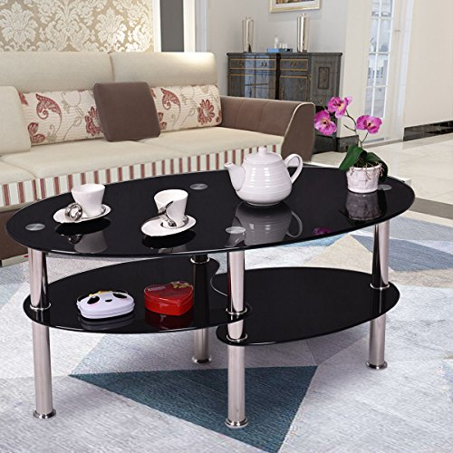 Price comparison product image Tempered Glass Oval Side Coffee Table Shelf Chrome Base Living Room Black New