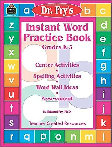 Amazon com: Instant Word Practice Book, Grades K-3: Center