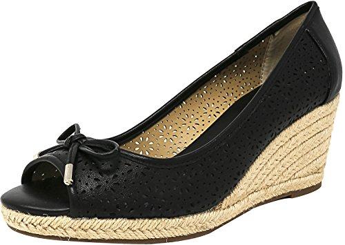 Liz Claiborne Black Leather (Liz Claiborne Women's Bimini Faux Leather Black Ankle-High Pump - 8M)