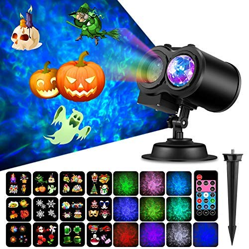Gohyo Baby LED Projector Night Light 2 in 1 Ocean Wave Remote Control Indoor for Baby Birthday Christmas Gifts