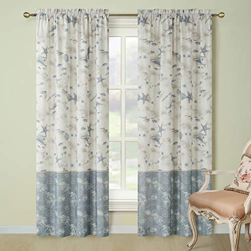 "DS BATH Madamoiselle Window Curtain,Rod Pocket Microfiber Curtains,Panels for Living Room,Panels for Bedroom,2pcs Panel:Each 42"" W x 84"" H,Total Size:84"" W x 84"" H"