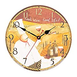 KI Store Chef Wall Clock for Kitchen Dinning Restaurant Café Decorative Wall Clock 12-inch Battery Operated (Good Wine, Good Life)
