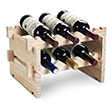 DEFWAY Wood Wine Rack - Stackable Storage Wine Holder 6 Bottle Display Free Standing Natural Wooden Shelf for Bar Kitchen (Natural Wood)