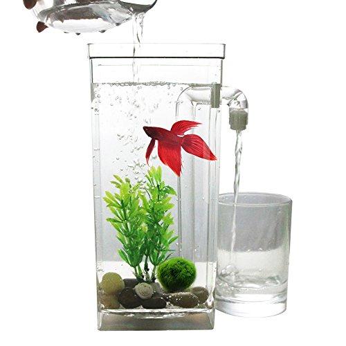 (Ocamo Mini Desktop Aquarium Self Cleaning Plastic Fish Tank Betta Fishbowl for Office Home Decor Square Fish Tank)