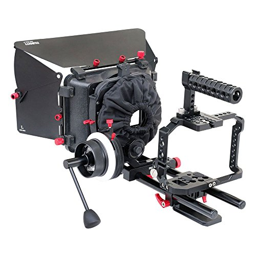 FILMCITY Professional G7 Camera Cage, Follow Focus, Mattebox, 15mm Rail Rod Tripod Mount Support For Panasonic Lumix DMC-G7 (FC-G7-BN) by FILMCITY