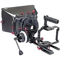 FILMCITY Professional G7 Camera Cage, Follow Focus, Mattebox, 15mm Rail Rod Tripod Mount Support For Panasonic Lumix DMC-G7 (FC-G7-BN)