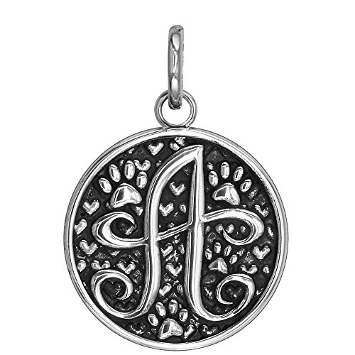 Large Initial Silver Key Ring - Sale C - Large Solid 925 Sterling Silver with Black Finish Szira Collection Paw and Hearts Monogram Initial C Charm, Pendant, Key Ring, for Dog, Cat or Person
