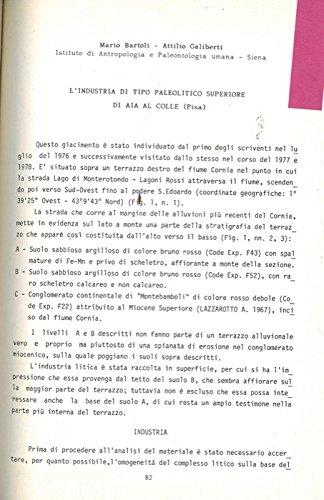 L'industria di tipo Paleolitico superiore di Aia al Colle (Pisa) . (Mario Bartoli)