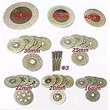 32pièces de disques à tronçonner Mini Diamant Lame de scie 16/20/22/25/30/40/50/60mm Dremel outils rotatifs pour pierres précieuses Pierre en verre + 4pièces mandrins Tige