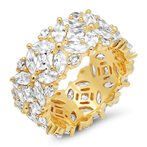 Parade of Jewels Multi-Cut Cubic Zirconia Eternity Ring in Gold-Plated Sterling Silver, Size 8
