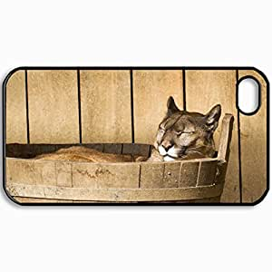 Customized Cellphone Case Back Cover For iPhone 4 4S, Protective Hardshell Case Personalized Cougar Cougar Mountain Lion Snout Is Tub Black