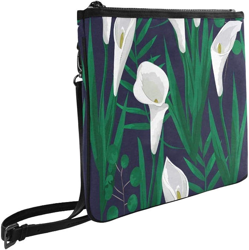 Work Bag Cross Body Pure White Noble Flower Calla Lily Adjustable Shoulder Strap Canvas Crossbody Tote Bag For Women Girls Ladies Bag Shoulder Fashion Designer Bag